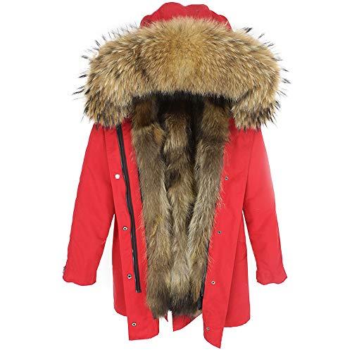 Lea Marie Damen Luxury Parka XXL Kragen aus 100% ECHTPELZ ECHTFELL Jacke Mantel Fuchspelz Innenfutter (XL, ROT)