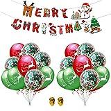 YOUYIKE 23 Piezas Kit de Globos de Navidad,Globos de Látex,Globos Confeti,Globos Alce de Navidad,Navidad Bandera,Kit Globos banner feliz Navidad para la Navidad Fiesta Suministros de Decoraciones