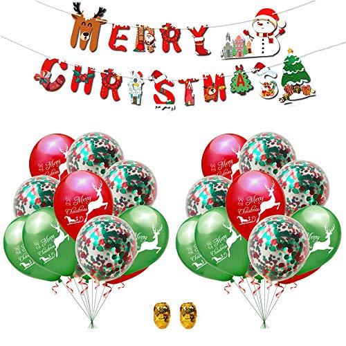 YOUYIKE® 23 Piezas Kit de Globos de Navidad,Globos de Látex,Globos Confeti,Globos Alce de Navidad,Navidad Bandera,Kit Globos banner feliz Navidad para la Navidad Fiesta Suministros de Decoraciones
