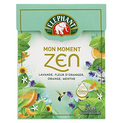 Elephant Infusion Mon Moment Zen, Lavande Fleur dOranger Orange Menthe, 25 Sachets Pyramides