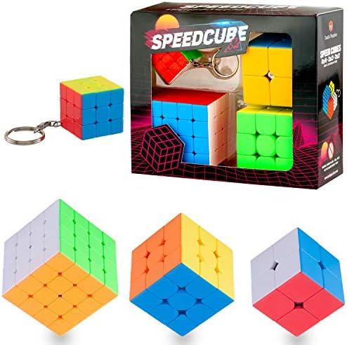 Speed Cube Set Tanbi Puzzle Stickerless 2x2 3x3 4x3 and Keychain Cube Puzzle Bundle product image