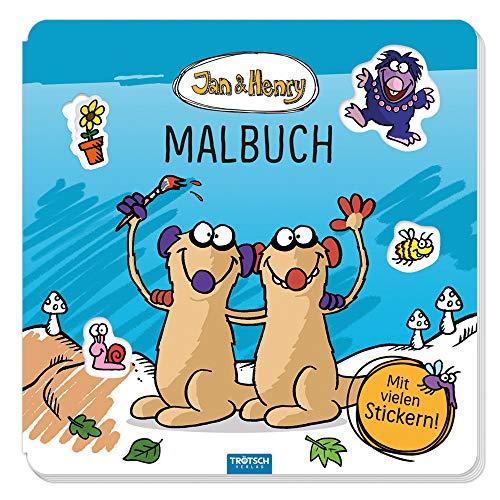 Trötsch Jan und Henry Malbuch mit Stickern: Malbuch Beschäftigungsbuch Ausmalbuch Stickerbuch (Jan & Henry)