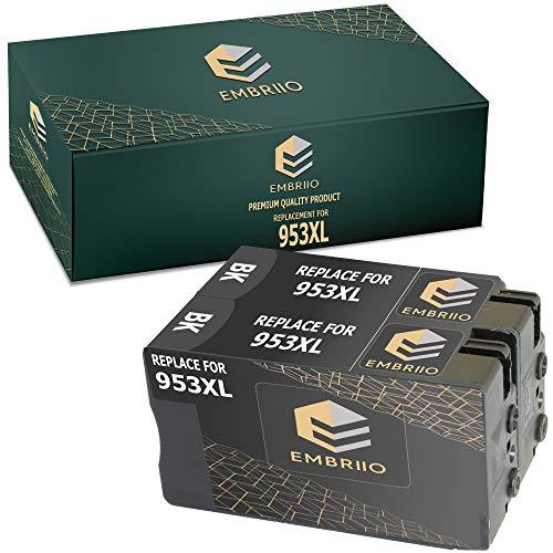 EMBRIIO 953XL 953 XL | 2 Negro Cartuchos de Tinta Reemplazo para HP OfficeJet Pro 7720 7740 8210 8710 8715 8720 8725 8730 8740 7730 8218 8718 8719 8728
