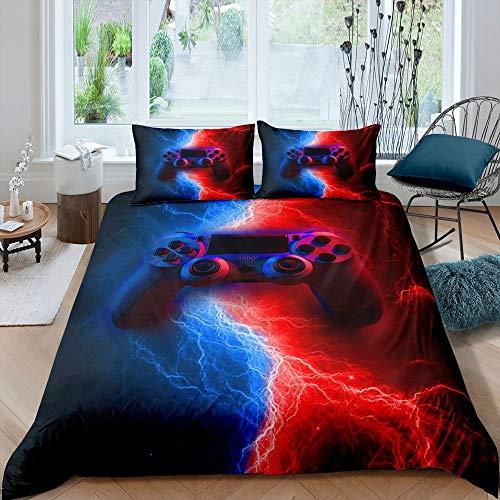 Tbrand Gamer Gaming Bedding Sets Super King Size,Lightnings Gamepad Youth Duvet Cover, Video Games Comforter Cover for Kid Teens Boys Man, Modern Bedroom Decor 3 Pcs Bedding Set,Red Blue
