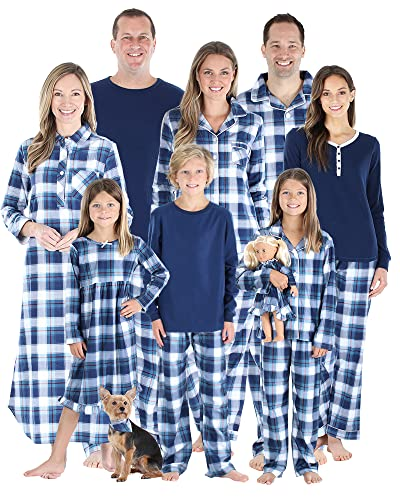 SleepytimePJs Holiday Matching Family Plaid Flannel Pajama Sets, Kids Solid Top - Blue Plaid, 10 Years