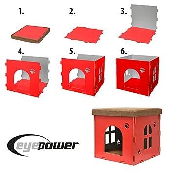 EYEPOWER Niche à Chien Dôme pour Chat 46x46x46cm Taille Grande L Maison boîte carrée avec Couvercle rembourré pour s'asseoir Repose-Pied Rouge