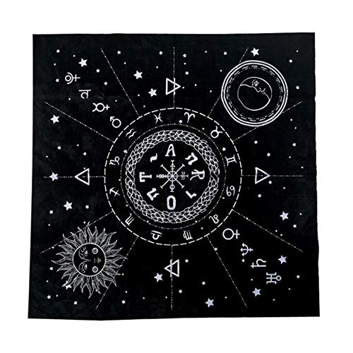 cici 1pc 49 * 49cm Tarot Tischdecke Zwölf Sternbilder Sun Moon Pentagram Pagan Altar Divination Brettspiel Tarot Stoff Flanell