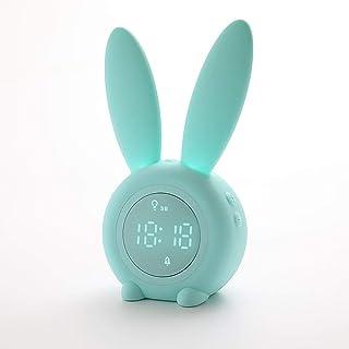サンライズ目覚まし時計-デジタルLED時計とベッドルームのベッドサイドライト-音声感知ディスプレイ、自動ライト目覚まし時計-スヌーズ付きヘビースリーパー (Color : Green)