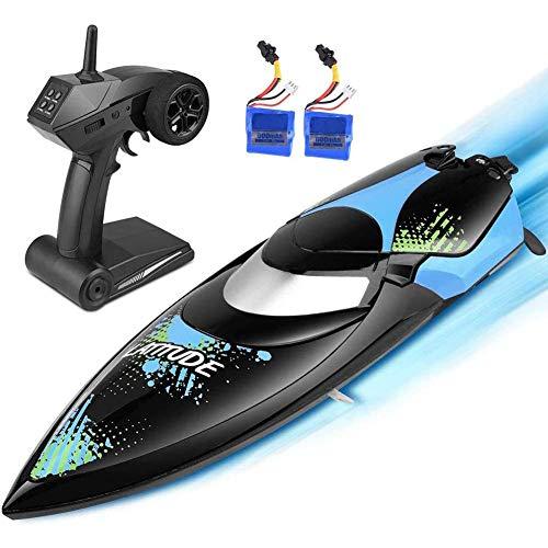 WGFGXQ 2,4 GHz RC-Bootsradio 25 km/h Hochgeschwindigkeits-Fernbedienungsboote Outdoor-Abenteuer-Poolspielzeug Auto Flip Recovery 150 m Kontrollentfernung, Geburtstagsgeschenk
