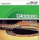 D'Addario EZ890 Juego de cuerdas para guitarra acústica de bronce, 009' - 045'