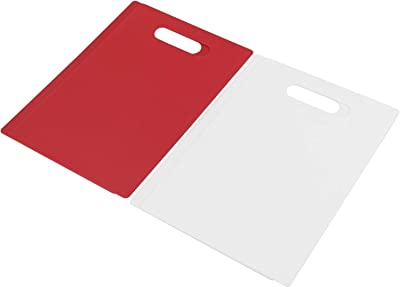 Ponpong 4-Packs Plastic Chopping Board for Kitchen, White and Red