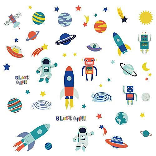 decalmile Pegatinas de Pared Planetas Decoración Infantil de Pared Vinilos Decorativos Espaciales Nave Espacial Robot Astronauta Adhesivos Pared Guardería Habitación Infantiles Niños Bebés Dormitorio