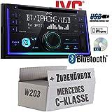 Mercedes C-Klasse W203 - Autoradio Radio JVC KW-R930BT - CD Bluetooth Android Apple MP3 USB - Einbauzubehör - Einbauset