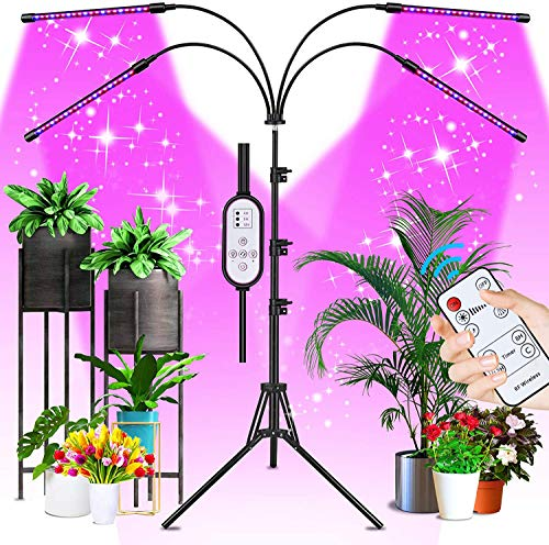 Sondiko LED Grow Light for Indoor Plants- 80W Full Spectrum Plant Grow Lamp with Tripod Stand, Auto ON/Off 4/8/12H Timer, 10 Dimmable Brightness & 3 Color Modes, Remote & Line-in Control, for Seedling