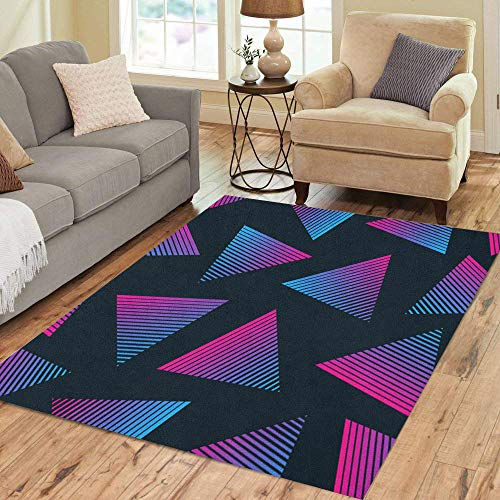 Pinbeam Area Rug Blue Pattern 80S Retro Pink 90S Electro Music Home Decor Floor Rug 3