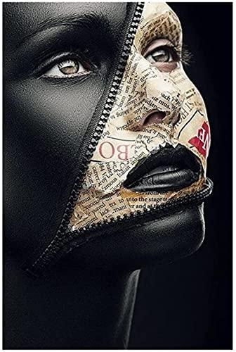 HHLSS Posterbild 30x50cm rahmenloses Zeitungscover Gesicht kreatives Kunstplakat sexy Modell Malerei an der Wand Kunst Make-up Bild Wanddekoration