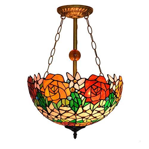 Lámpara colgante Tiffany de 16 pulgadas de estilo Tiffany de cristal claro rosa lámpara colgante lámpara colgante para comedor, dormitorio, bar, arte interior, lámpara de salón, iluminación decorativa