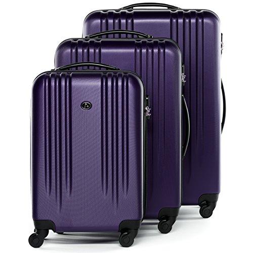 FERGÉ Kofferset Hartschale 3-teilig Marseille Trolley-Set mit Handgepäck 55 cm 3er Set Hartschalenkoffer Roll-Koffer 4 Rollen violett