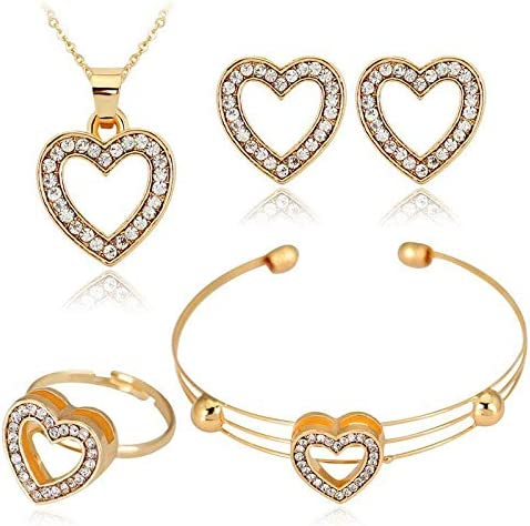 AFONiE Chic Heart 14k Gold with Crystal - 4 Piece Women Jewelry Set