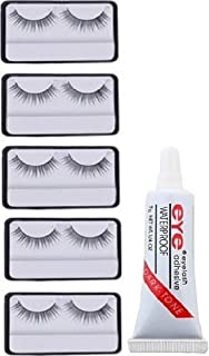 Spanking false eyelashes 5 pcs and 1 pcs eyelash glue (Eye combo)