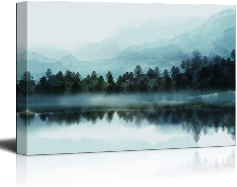 NWT IDEA4WALL Canvas Wall Art Mist Artwork for Painting Translated Atlanta Mall H Forest