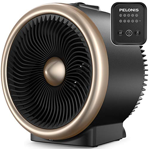 Pelonis PSH750G Table Circulation Fan with Heating Function, Electronic Adjustable Thermostat, Auto Tip-Over & Overheat Protection for All Seasons & Whole Room Gold