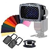 Selens Tragbar Universal Wabengitter Set mit 20 Farb Gelfilter Kit SE-Kx für Blitz Kamera Speedlight Fotografie Fotostudio Flash