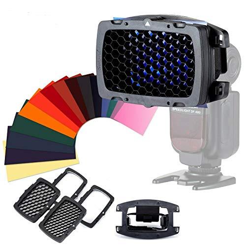 Selens - Kit de rejilla de panal universal portátil con 20 filtros de gel de colores SE-Kx para flash, cámara, Speedlight, fotografía, estudio fotográfico, flash