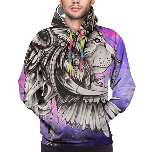 Men'S Hoodie Pullover 3d Galaxy Lion Face Cow Skull Colorful Drawstring Sweatshirt With Pockets Black