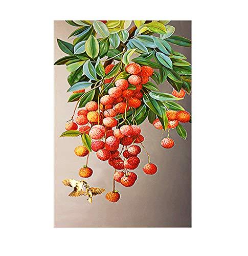 5D-Diamantgemälde mit roten Früchten und Vögeln, Malen nach Zahlen, Acryl, Bohren, Kreuzstich, für Erwachsene und Kinder, Stickerei, Kunsthandwerk, Mosaik-Bilder, Leinwand, Wanddekoration, 45 x 85 cm
