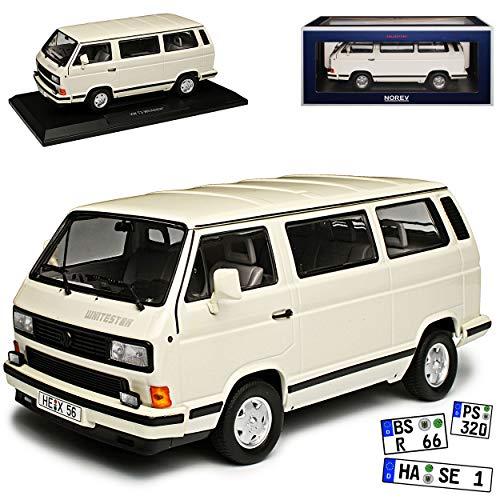 Norev Volkwagen T3 Bus Whitestar Multivan Weiss Transporter 1979-1992 1/18 Modell Auto mit individiuellem Wunschkennzeichen