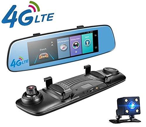 Yuyitec 4G Auto-DVR-Kamera, ca. 20 cm, Touch-Bildschirm, ADAS, Fernüberwachung, Rückspiegel-Kamera mit Android Dual-Objektiv, 1080P, WLAN, Dashcam, Echtzeit-GPS-Navigator, Tracker