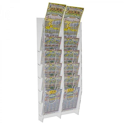 Avà srl Espositore Porta schedine e gratta e Vinci da Parete in plexiglass Trasparente a 12 Tasche - Misure: 22 x 9 x H55 cm