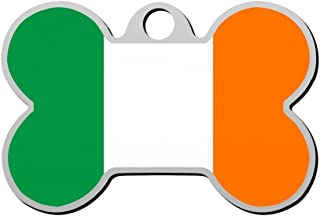 BSARRE Personalized Pet ID Tags for Dogs & Cats Flag of Ireland Double Sided Bone Dog Tag