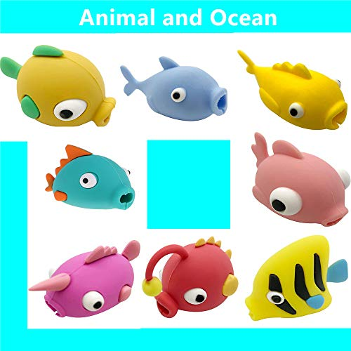 DECVO Cable Protector Compatible with iPhone iPad Android Sumsung Galaxy Cable Plastic Cute Ocean Animals Phone Accessory Protects USB Charger Data Protection Cover Chewers Earphone Cord Bite (8 PACK)