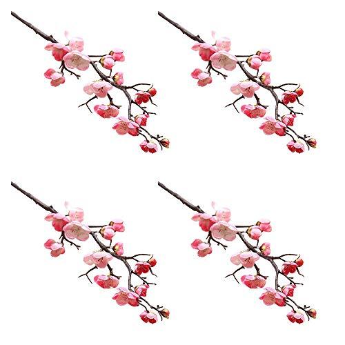 JYCAR 4 flores artificiales de ciruelo, flores de ciruela, ramas de melocotón, seda, arreglos altos de flores falsas, para decoración del hogar de la boda (60 cm, rosa claro)
