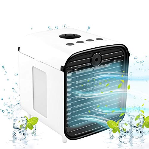 Air Cooler, Portable Air Cooler, 5-in-1 Mini Air Conditioner with LED Light and Purifier, Personal Air Cooler for Home & Office Desk Outdoors Travel