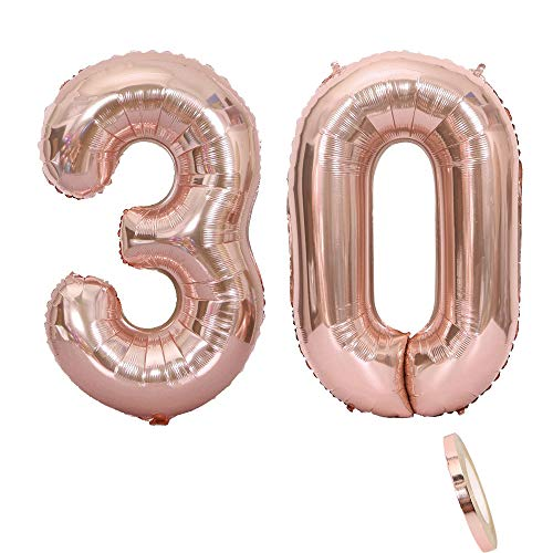 "2 Luftballons Zahl 30, Nummer 30 Luftballon Rosegold Mädchen ,40\"" Aufblasbar Helium Folienballon Roségold Ballons Figuren ,Riesen ballon für Geburtstag Party Dekoration, Abschlussball (xxxl 100cm)"