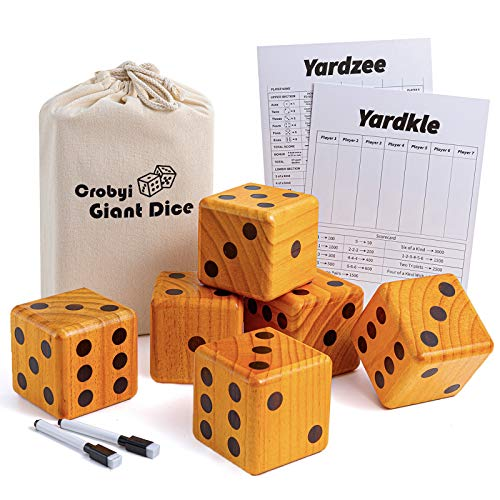 Crobyi Giant Yard Dice Game, 3.5  Giant Wooden Outdoor & Lawn Dice Game for Kids, Adults and Family. Includes 6 Giant Dice, 2 Yardzee&Farkle Scoreboard, 2 Marker Pens and a Storage Bag.