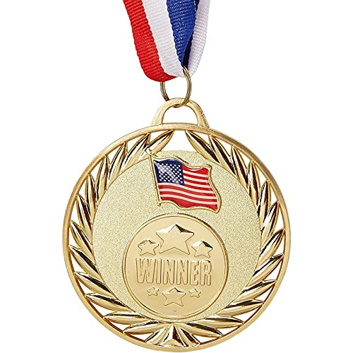 Juvale 6-Pack Bulk Olympic Style Gold Winner Award Medals with Ribbons for Sports, Competitions, Spelling Bees, Party Favors 2.7 Inches Diameter, 15 Inches Ribbon Length