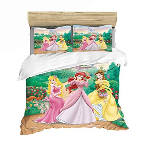 DFTY Disney Princess - Juego de ropa de cama infantil (funda nórdica y funda de almohada, 100% microfibra con cremallera), diseño de princesas Disney, 04, 140*210CM