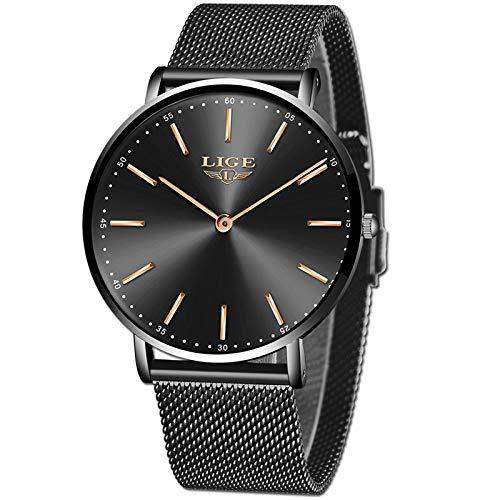 LIGE Relojes Hombre Moda Ultradelgado Simple Negro Relojes Hombre Impermeable Automático Fecha Cuarzo Negocios Vestido Relojes