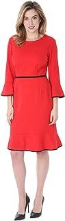 Tiana B Womenโ€™s 3/4 Bell Sleeve Crew Neck Scuba Crepe Sheath Slim Dress