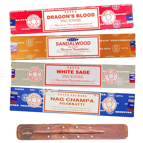 Satya Nag Champa Incense Sticks - 4 unique and premium flavours - Dragons Blood, Sandalwood, White Sage and Agarbatti and comes with SAMASIA incense holder