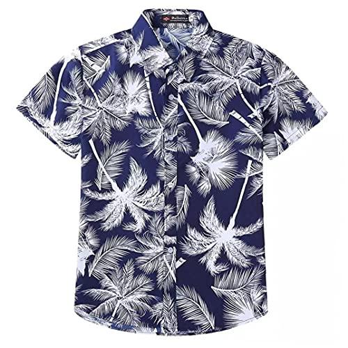 EElabper Botón Camisa de los Hombres de Down Verano Collar de Manga Corta Bolsillo Delantero Palms Impreso de Vestir básicas enrrollado Divertido Aloha