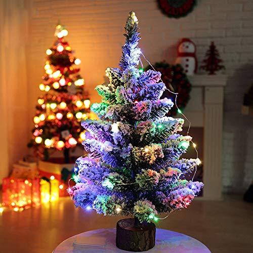 WUFANGFF Mini Albero di Natale Artificiale Neve Floccaggio Albero di Natale Multicolore A LED Luci di Decorazione Vacanze Arbol De Navidad