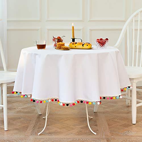 Mantel Redondo Blanco de 150 cm de diámetro, decoración del hogar, Protege la Mesa de Centro de Mesa de Comedor de Escritorio