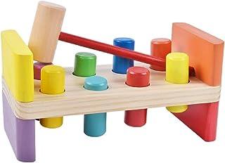 HTJSDC Children's column wooden toy noise ball hit the ball Christmas gift education box as shown