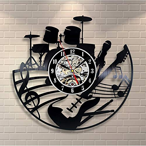 xcvbxcvb Guitar shape vinyl record 3D wall clock modern design theme retro LP wall clock wall table home decoration gift for guitarist