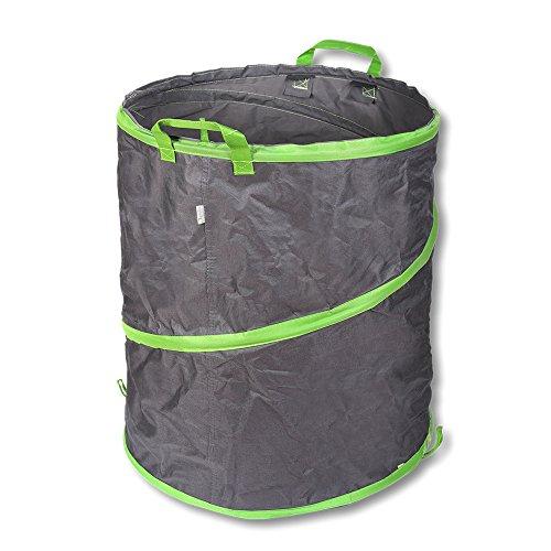 Schramm® Pop Up Gartensack 137L Grün/Grau Sehr Stabiles Polyester 50 x 70 cm Oxford Selbst Aufstellend Gartensäcke Pop UP Garten Sack Säcke Big Bag